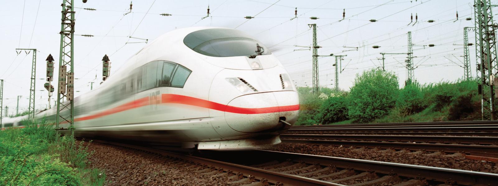 ICE train on rails