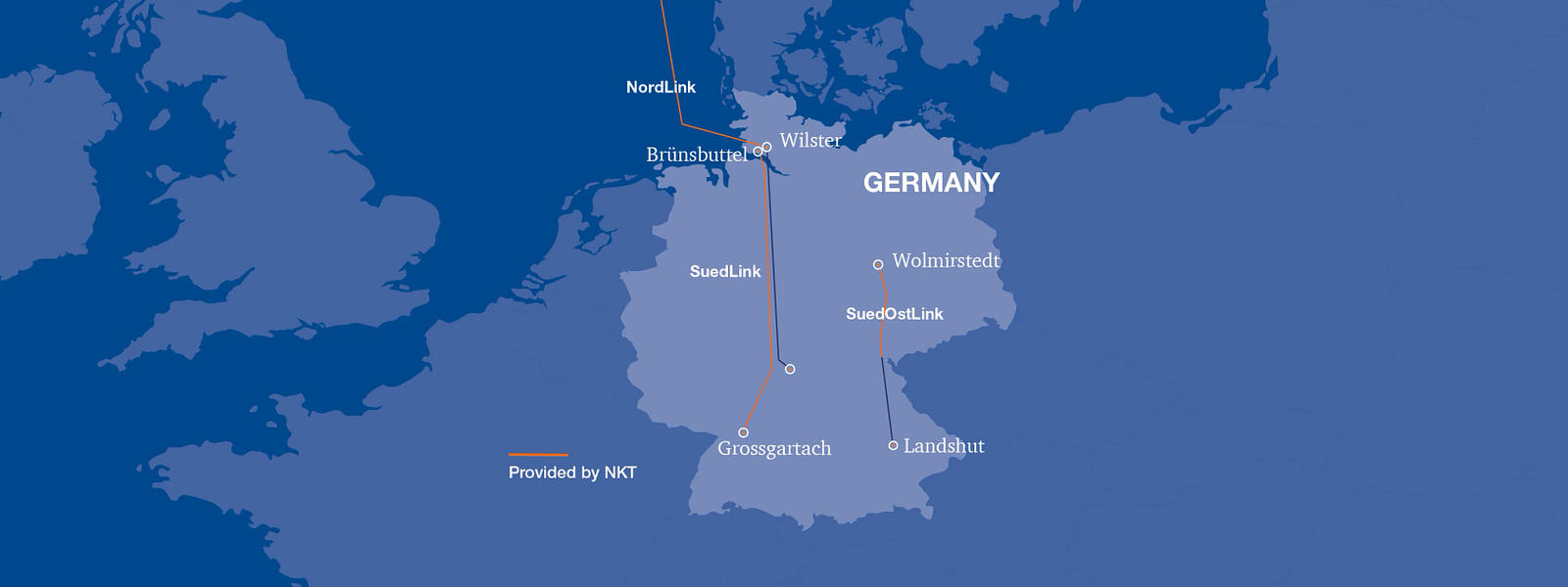 Germany map with corridor projects and NKT sections