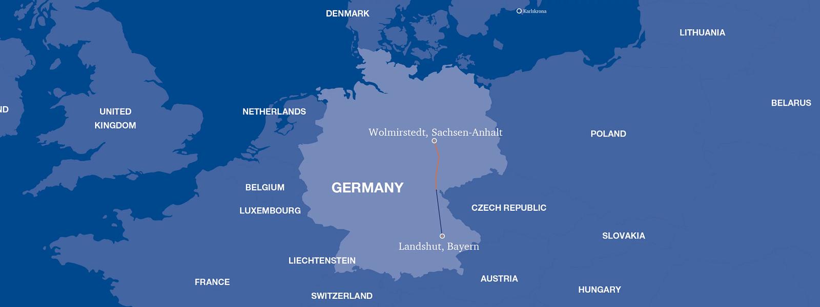 Map of SuedOstLink