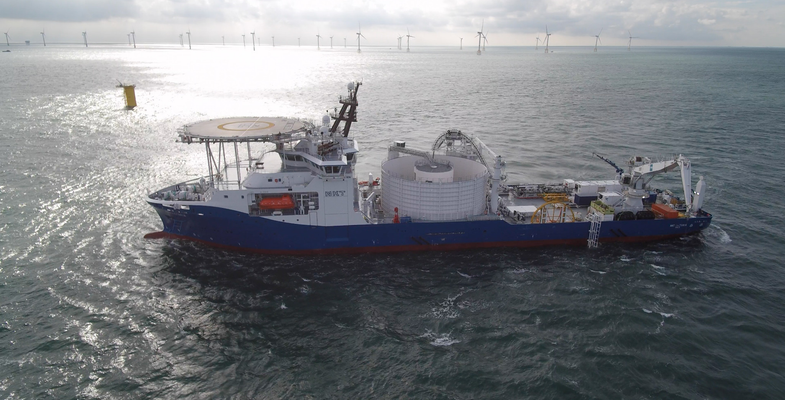 Offshore installation of the HVAC cable connecting the Kriegers Flak windfarm to the Danish grid